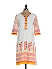 Off White And Red Printed Kurta - Inara Robes