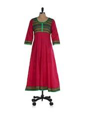 Dark Pink Printed Cotton Anarkali Kurti - Inara Robes