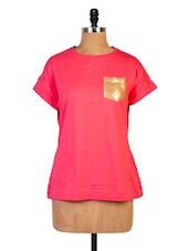 Solid Pink T-shirt With Sequined Pocket - Miss Chase