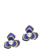 Statement Blue Flower Vintage Studs - Fayon