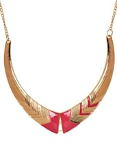 Gold And Pink Patterned Necklace - ESmartdeals