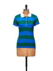 Striped Blue And Green Sporty Top - Yepme