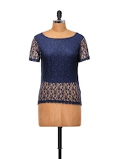Navy Blue Lace Top - Yepme