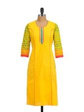 Mustard Cotton Kurta With Patterned Sleeves - Tulsattva