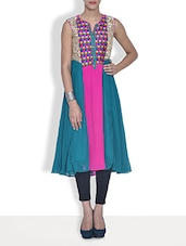 Aqua Blue Embroidered Georgette Anarkali Kurta - By
