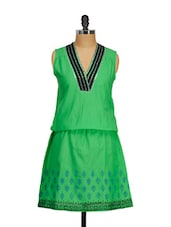 Green Cotton Block Print Tunic - Shakumbhari