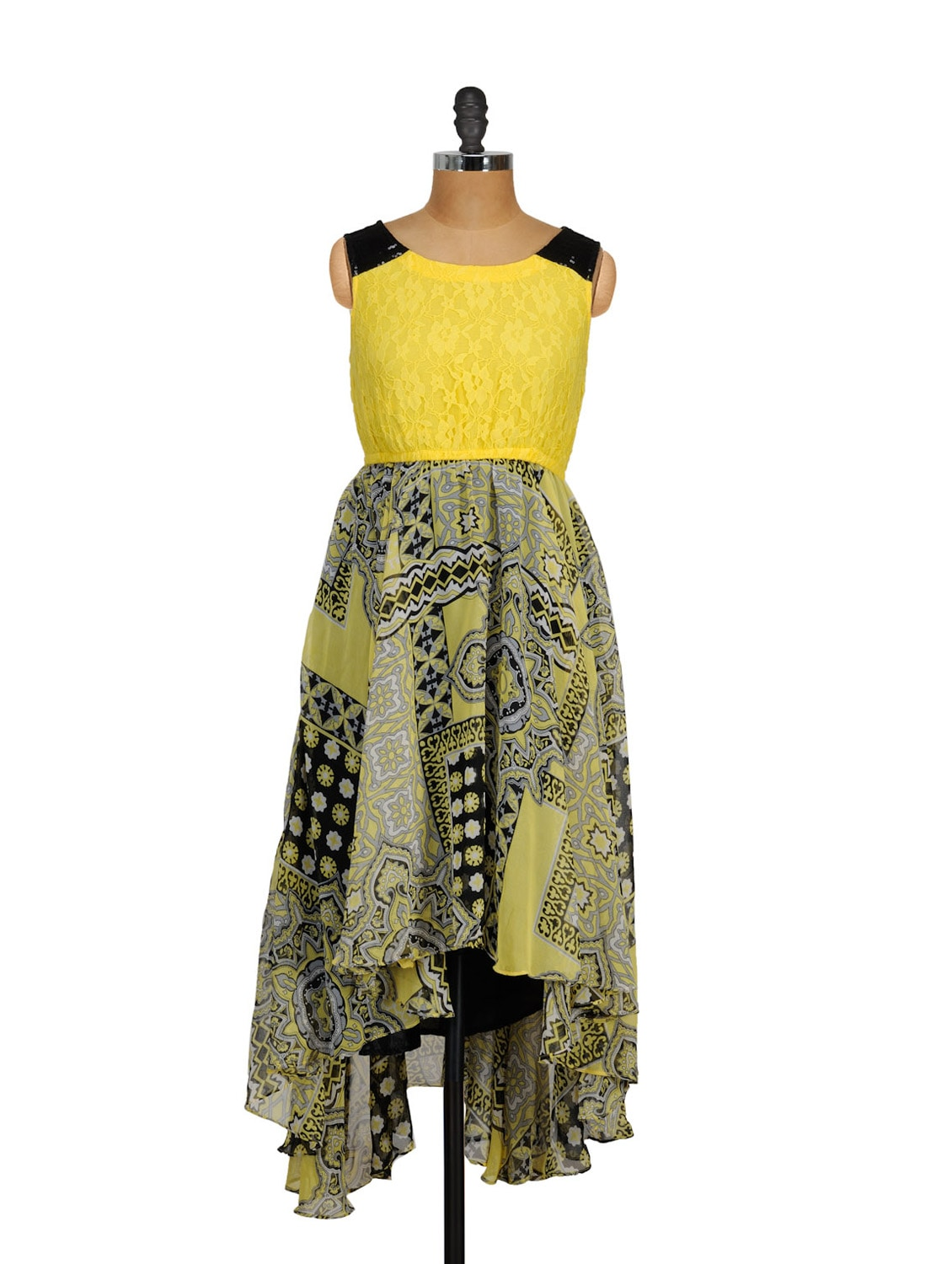 Arabesque Print Asymmetrical Dress - Shakumbhari