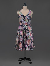 Floral Print Overlapping Neck Georgette Dress - Shakumbhari
