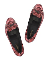 Lace Trimmed Red Loafers - Carlton London