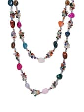 Multi-coloured Stone Beads Long Necklace - Art Mannia