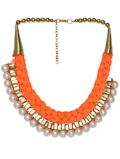 Choker Style Necklace With Faux Pearls And Orange Nylon Braided Thread - Art Mannia