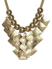 Gold Beaded Neckpiece With Diamond Shaped Embellishment - Art Mannia