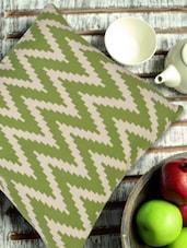 Green And Off-white Chevron Print Cushion Cover - Pluchi