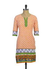 Beautiful Printed Cotton Kurta In Orange - Purab Paschim