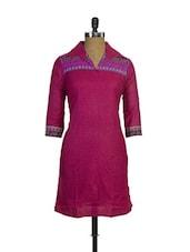 Fantastic Pink Printed Cotton Kurta With Collar - Purab Paschim