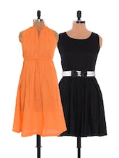 Combo Of Orange  And  Black Dress - Xniva