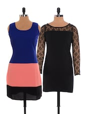 Combo Of Little Black Dress  And  Tri-colored Dress - Xniva