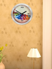 White Rim Multi-coloured Piano Keys Printed  Wall Clock - Cosmos Galaxy