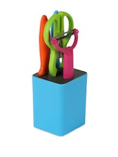 Multi-coloured Kitchen Set, 2 Knives, 1 Peeler, 1 Scissor And 1 Holder - Cosmos Galaxy