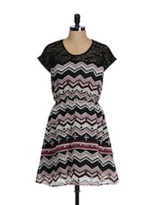 Black And Grey Chevron Print Summer Dress - Feyona