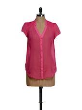 Sheer Pink Shirt Style Top - Feyona
