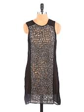 Black Embellished Cut-Work Dress - Aaliya Woman