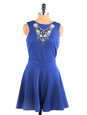 Royal Blue Flirty Playsuit With Cut-Out Back - Aaliya Woman