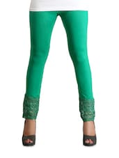 Stretchable Green Lace Trim Leggings - Vivomo