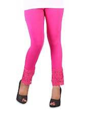 Stretchable Pink Lace Trim Leggings - Vivomo