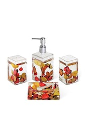 Acrylic Red & Yellow Petals Bathroom Set Of 4 Pieces - Freelance