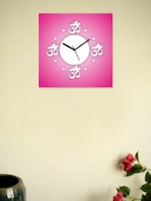 White And Pink Om Wall Clock - Zeeshaan