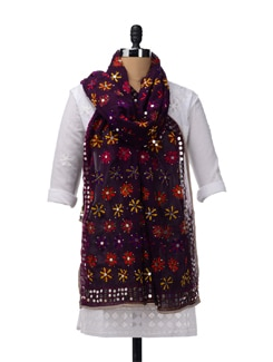 Purple Semi Georgette Phulkari Dupatta - Vayana