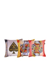 Teen Patti Poly Silk Cushion Cover Set - The Home Elements