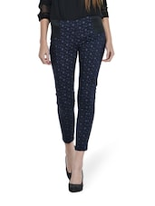 Printed Cotton Satin Jeggings - Ursense