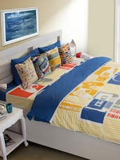 Blue Abstract Print Bed Cover - HOUSE THIS