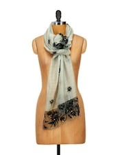 Stylish Grey Silk Stole With Black Border And Pearl Embellishments - WELKIN