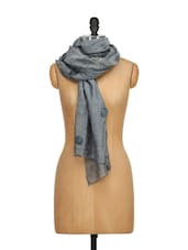 Silk Stole With Fabric Flower And Metal Beads Embellishment - WELKIN