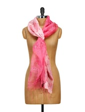Pink Delicate Floral Embroidered Stole - WELKIN