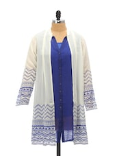 Ethereal Blue And White Shirt Tunic - Global Desi