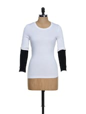 Round Neck White Top With Monochrome Sleeves - 335th