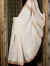 White Beautiful Muslin Saree - Cotton Koleksi