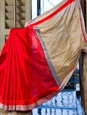 Red Cotton Saree - Cotton Koleksi