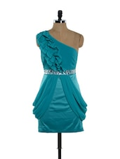 Turquoise blue off-shoulder dress with front frills and a diamante waistband