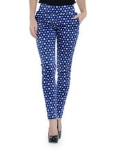 Blue Cotton Jeggings With White Star Prints - Ozel Studio