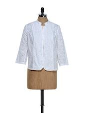 White Cotton Jacket With Cut-work - Ozel Studio