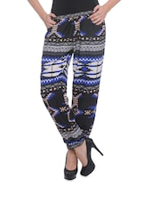 Black Trousers With Blue And White Prints - Purys