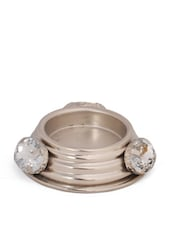 Silver Metal Tea Light Candle Holder With Stone Embellishments - Ambbi Collections
