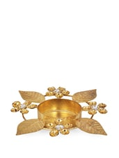 Gold Metal Leaf Tea Light Holder With Stone Embellishments - Ambbi Collections