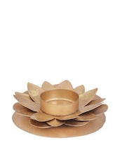 Golden Layered Flower Petal Teal Light Candle Holder Made In Metal - Ambbi Collections