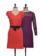 Red, Wine Set Of Two Dresses - @ 499